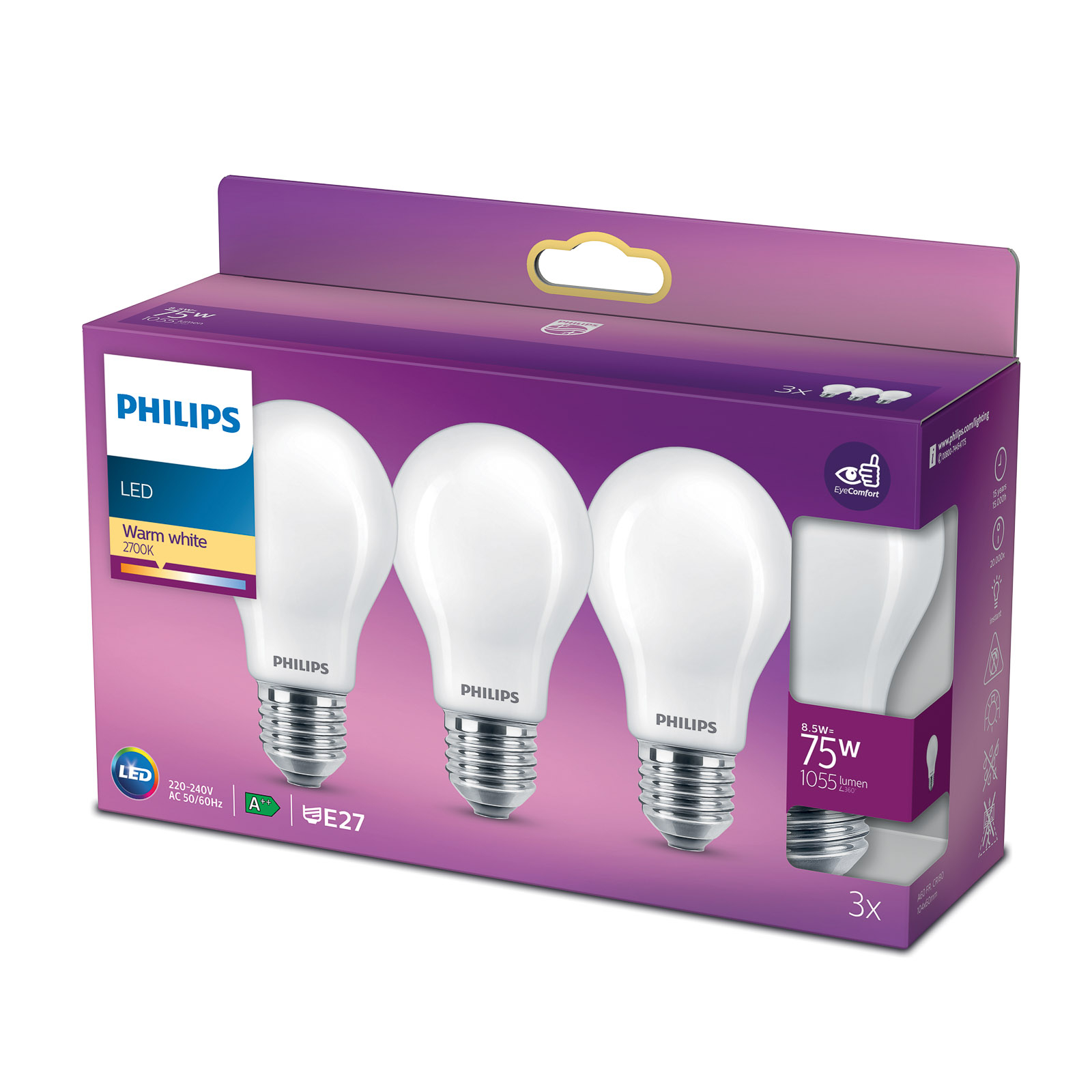 Philips Classic LED-pære E27 A60 8,5W 2700K 3-er