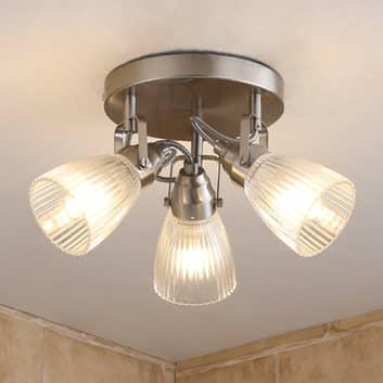 Ronde LED-badkamer-plafondlamp Kara met groefglas