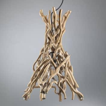 Hanglamp Agar met kap van hout