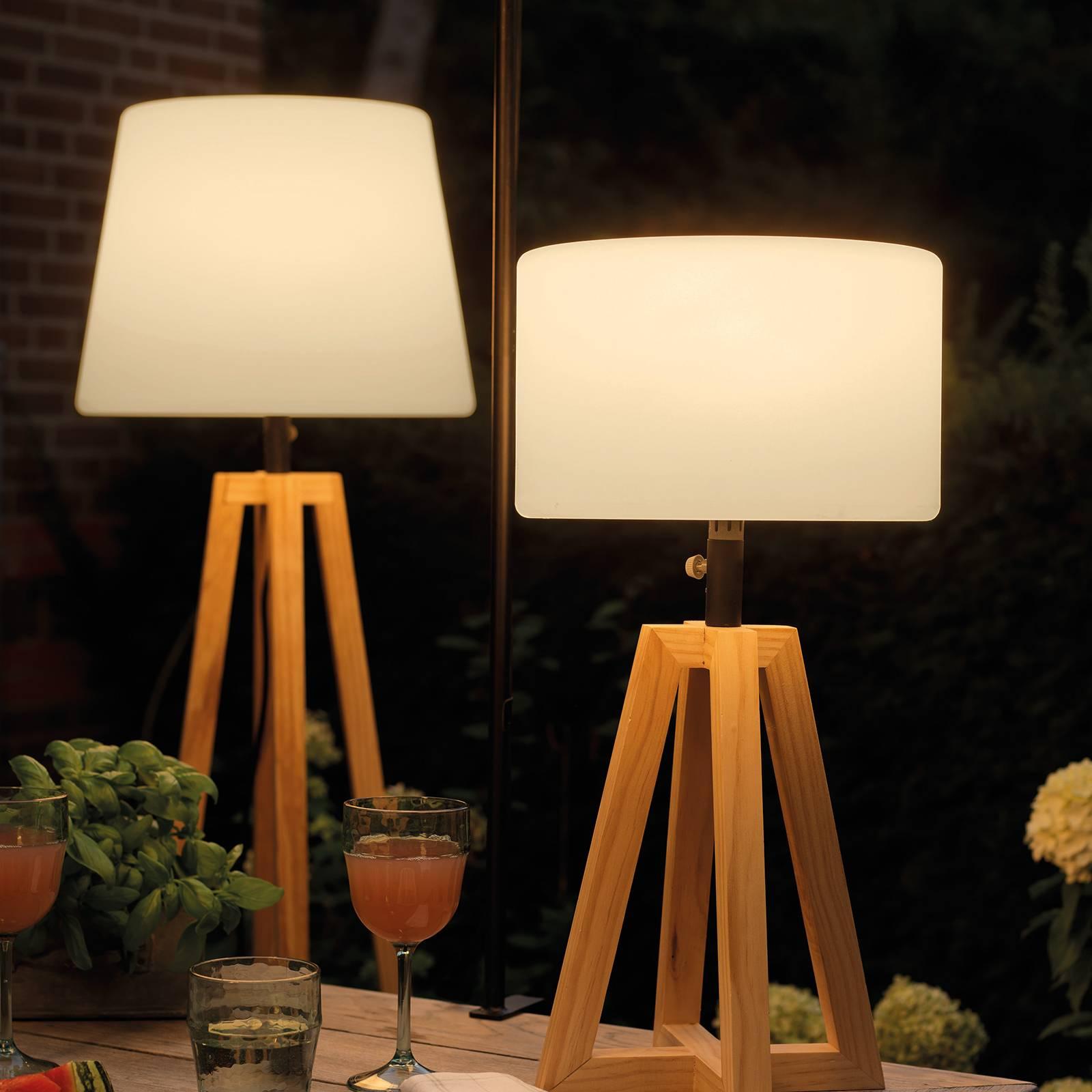 LED solar-vloerlamp 895191 met pijnboomhout-frame