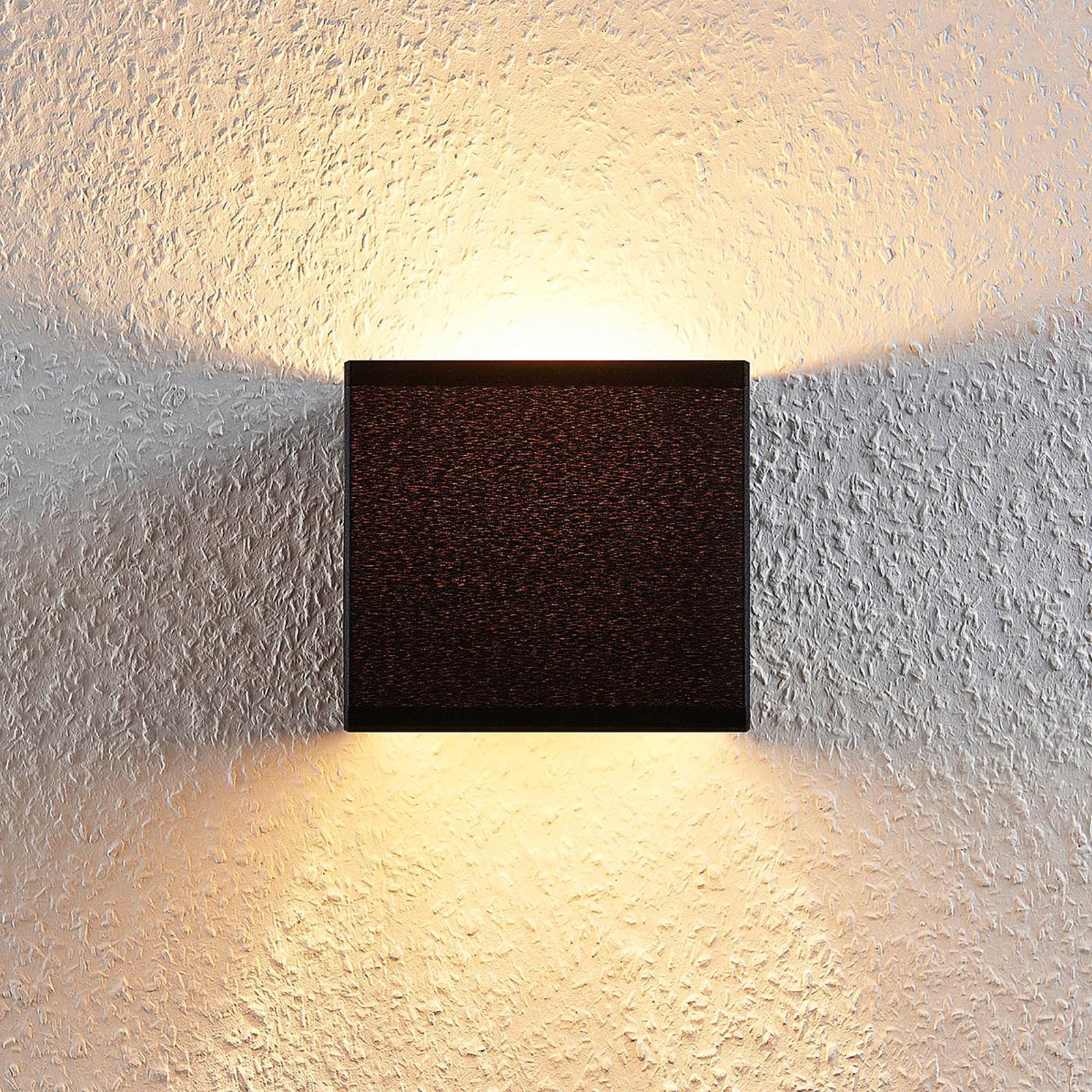 Stoffen wandlamp Adea met schakelaar, 13 cm, zwart