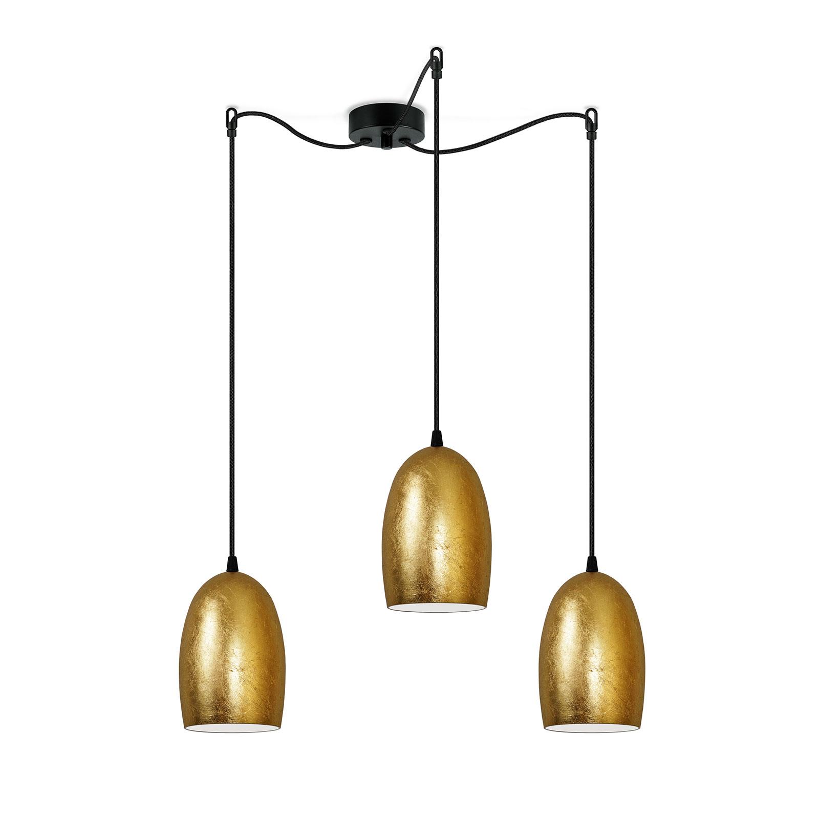 Ume hengelampe, 3 lyskilder, gull/svart