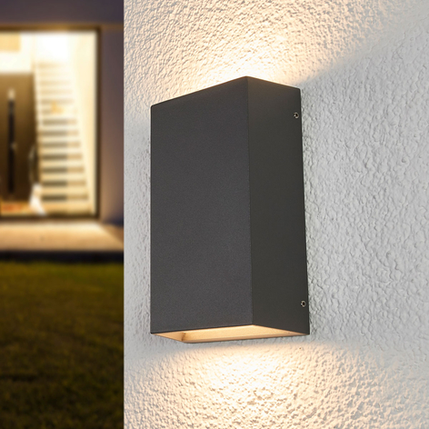 LED-Außenwandlampe Selma, eckig, 12 cm