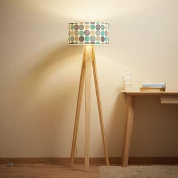 Lampada da terra Aqua a treppiede di legno
