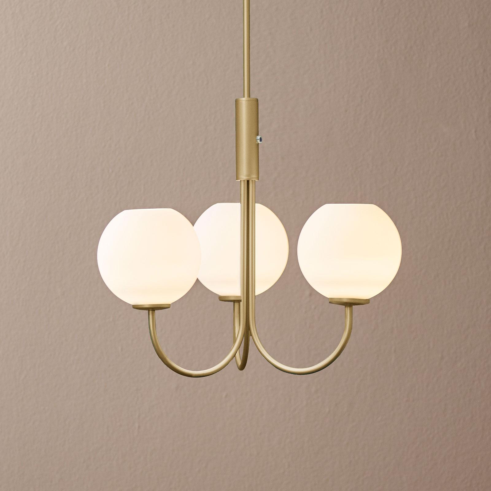 Lampadario Ballon con interruttore, 3 luci, ottone