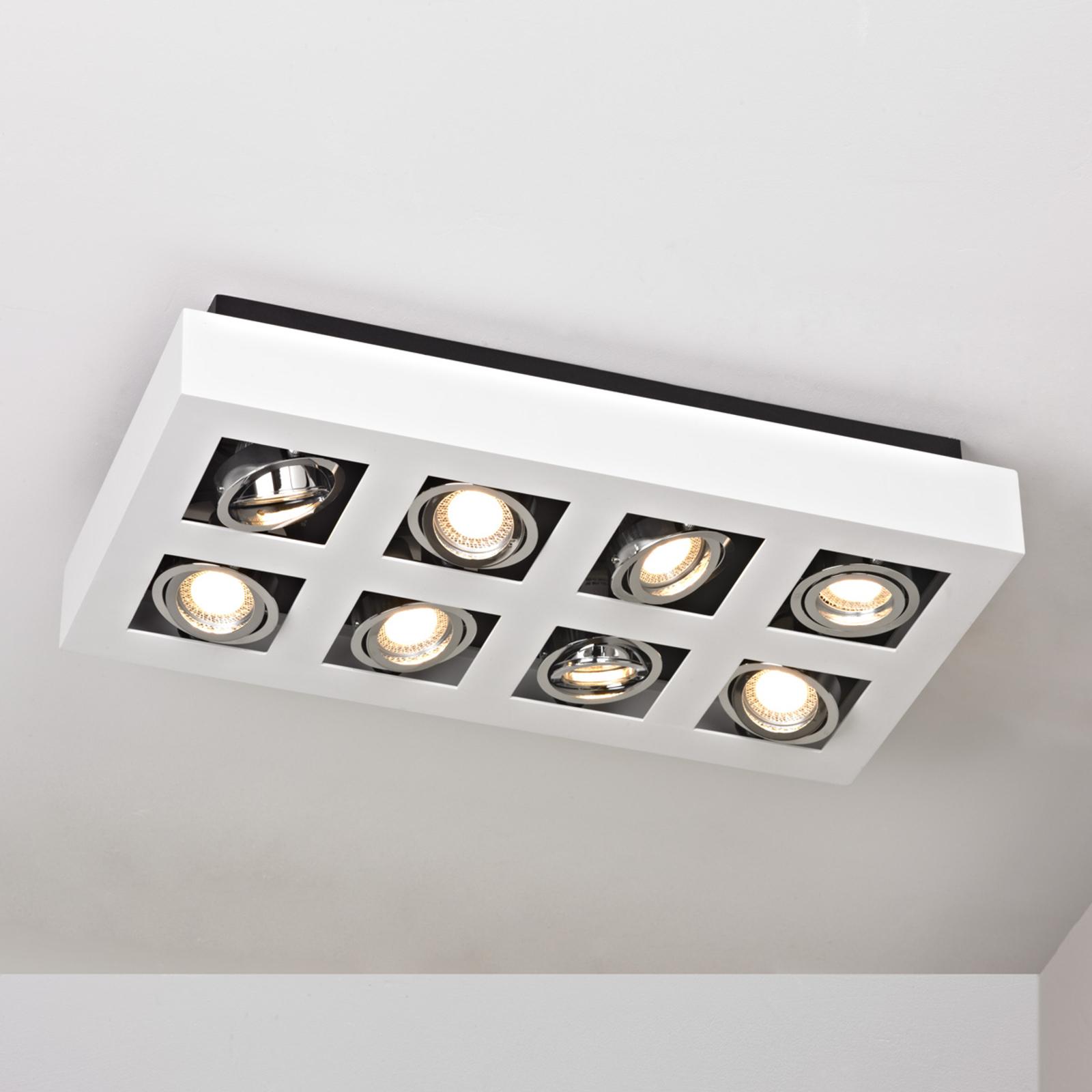Puissant plafonnier LED Vince à huit lampes, blanc
