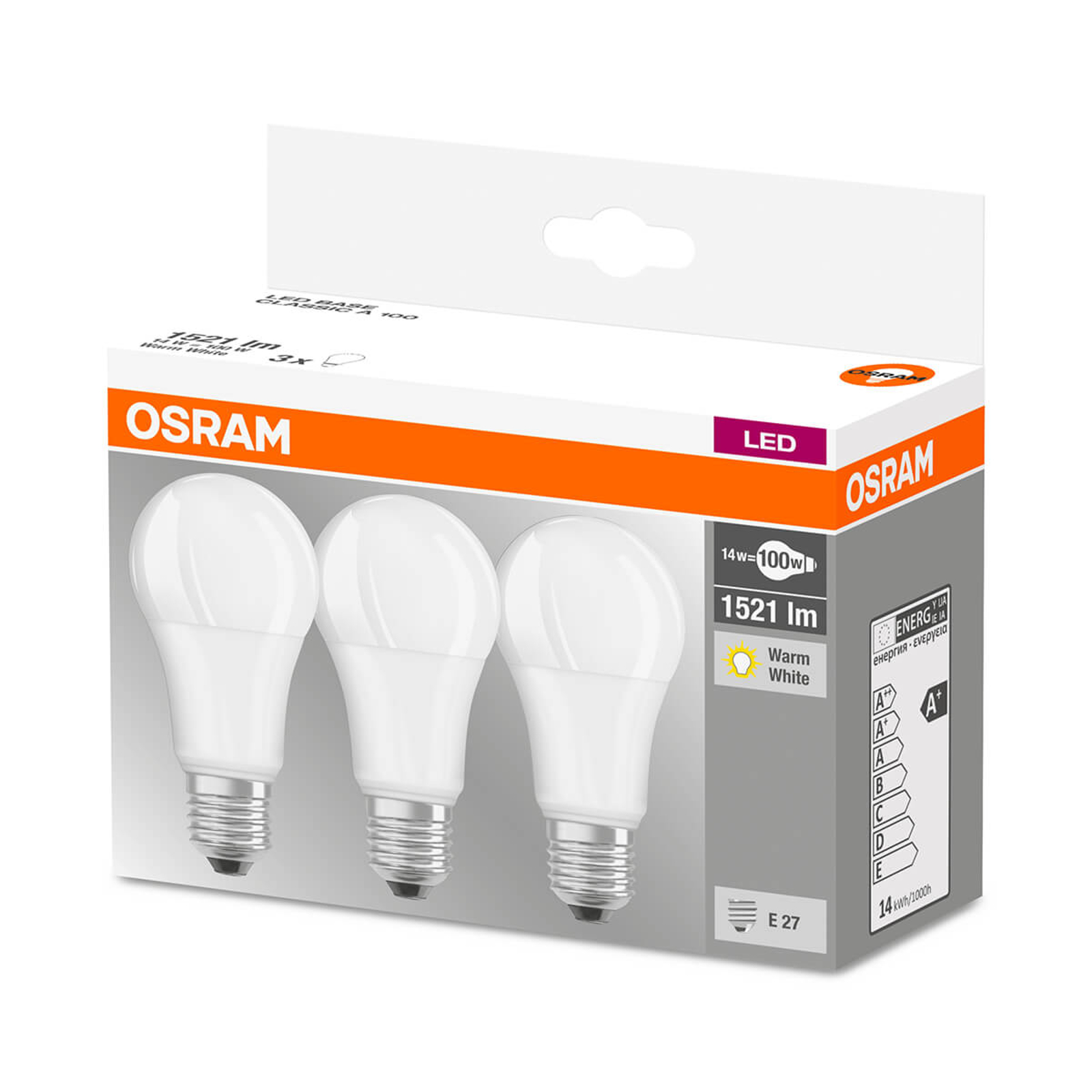 Lampadina LED E27 14W, bianco caldo, set da 3