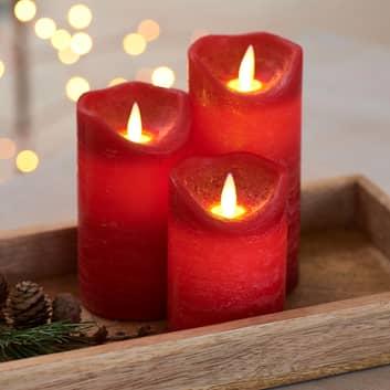 Set 3 candele LED Sara, Ø 7cm, 10/12,5/15cm