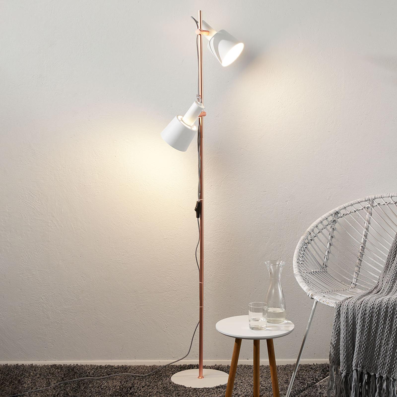 2-lamppua-Haldar-lattiavalaisin, valkoinen/kupari