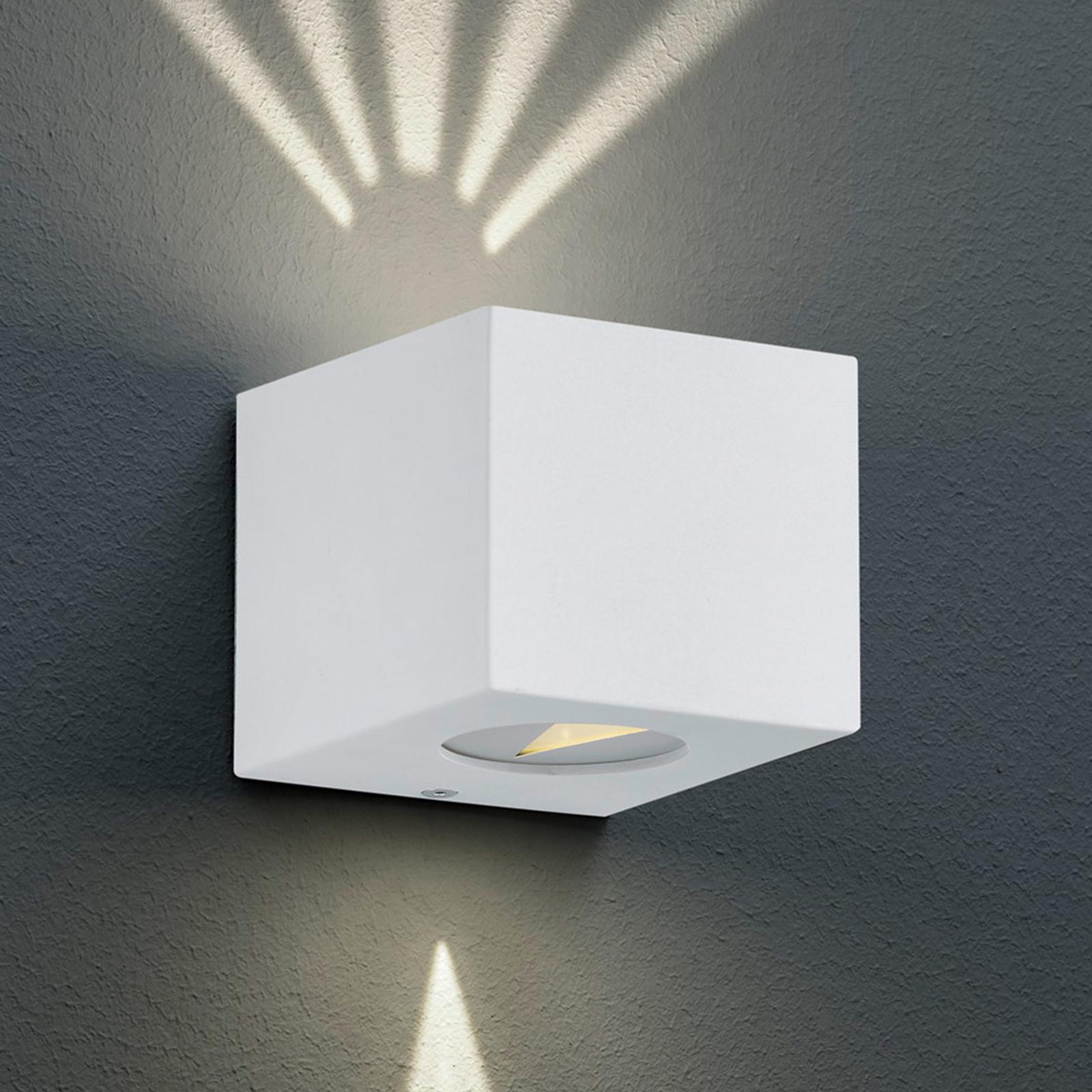Eckige LED-Außenwandleuchte Cordoba, weiß