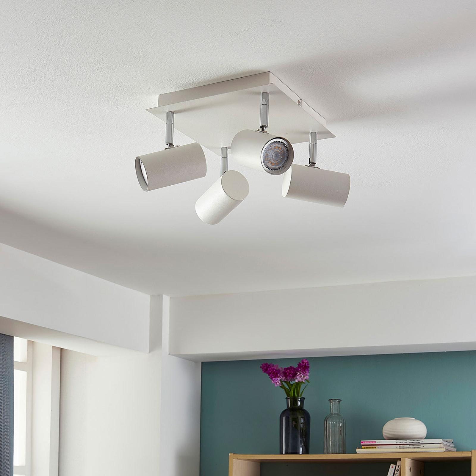 Lámpara LED de techo Iluk cuadrada, 4 brazos