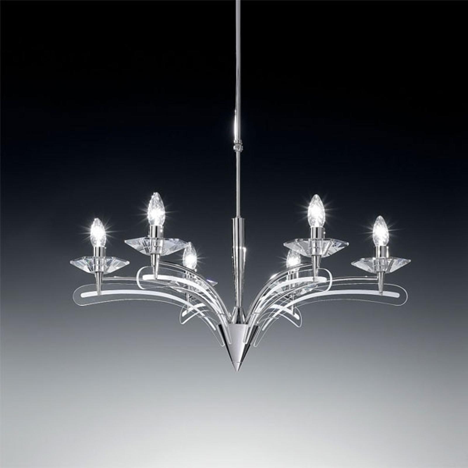 Lustre ICARO à 6 lampes, av. verre cristal, chromé