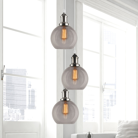 Hanglamp LA035 E27 3-lamps rond chroom-finish