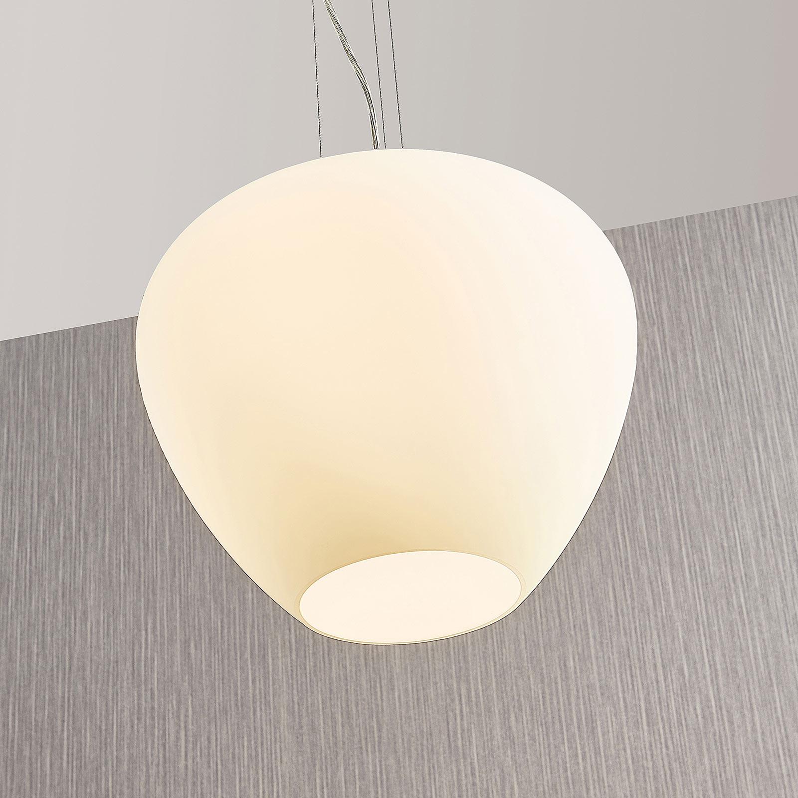 Szklana lampa wisząca Bibiane, biała opalowa