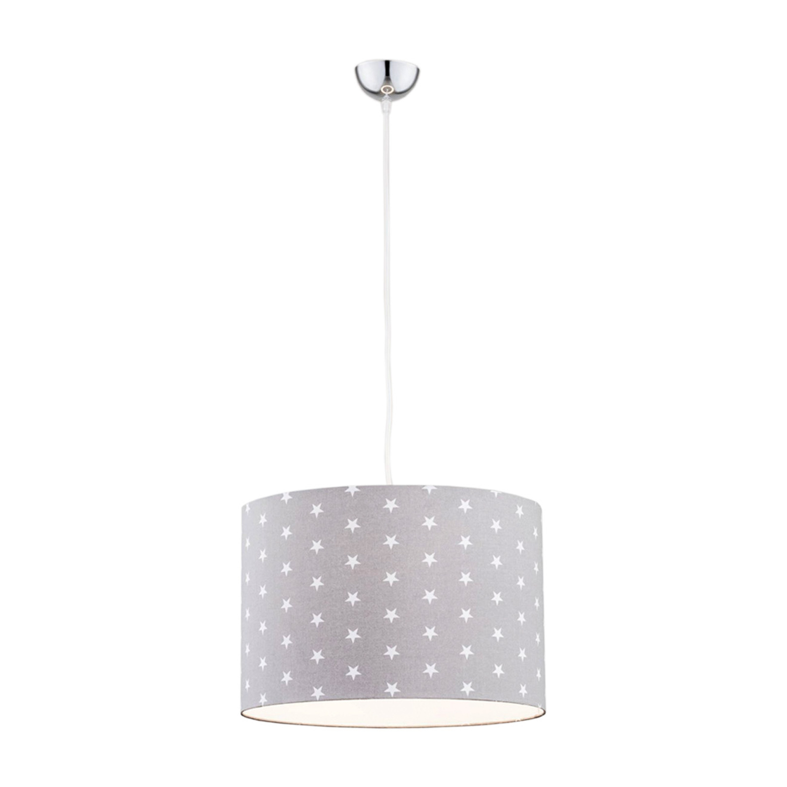 Moa hængelampe, grå stofskærm/hvide stjerner