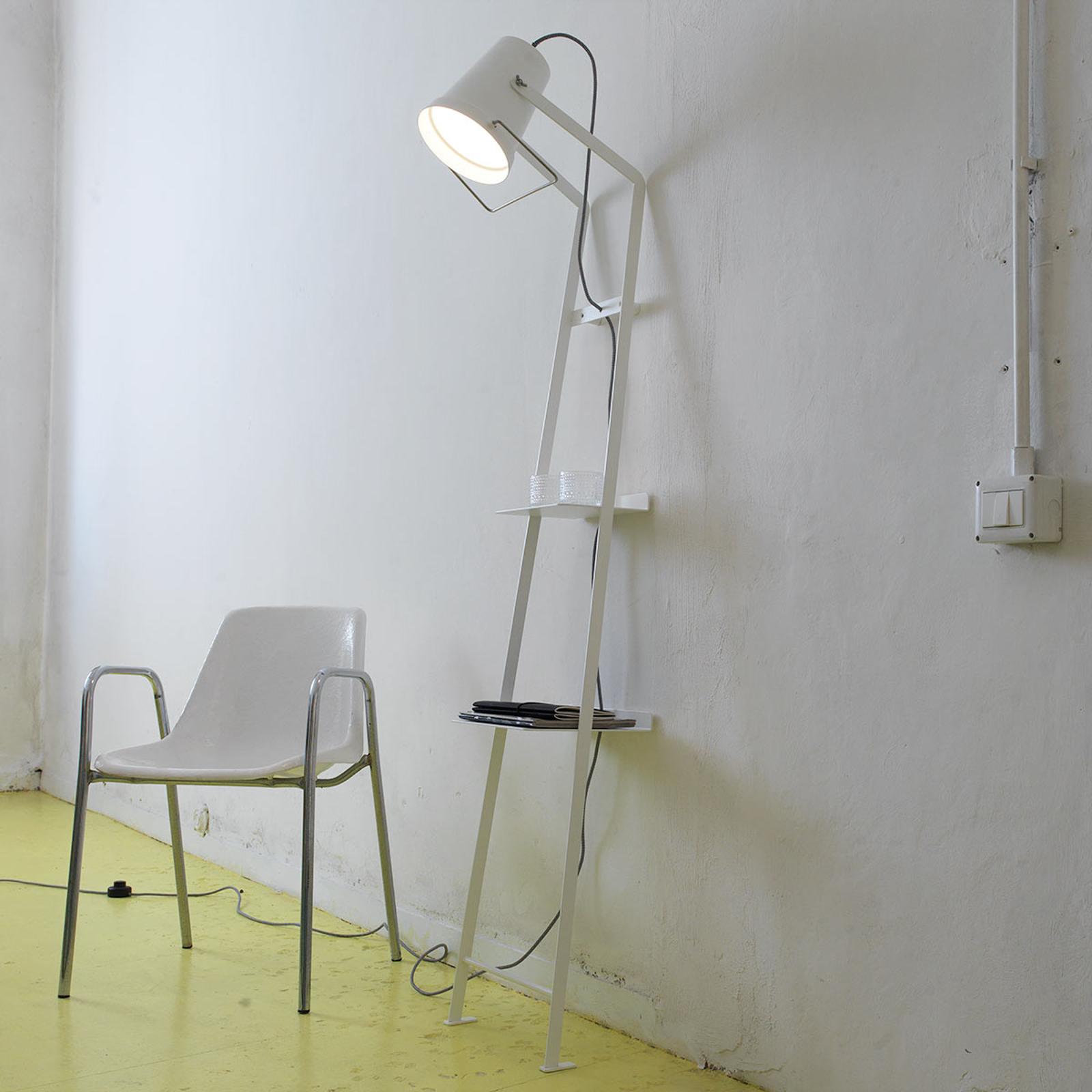 Lampadaire Alfred, surface de rangement, blanc mat