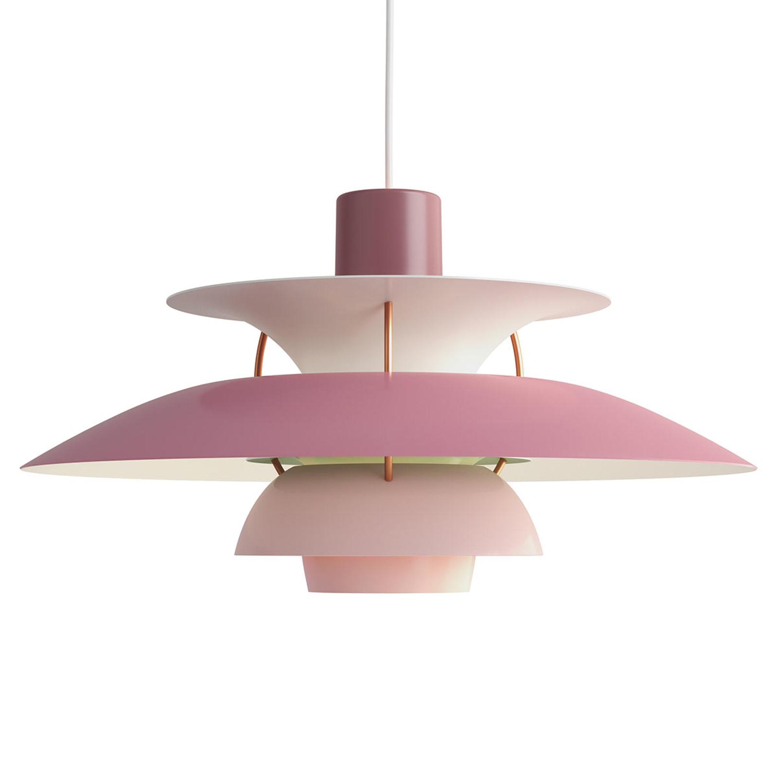 Louis Poulsen PH 5, Designer-Pendellampe rosa