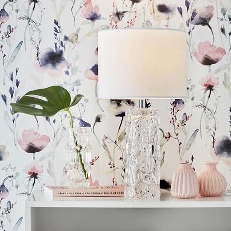 Biała lampa stołowa Madame z kloszem tekstylnym
