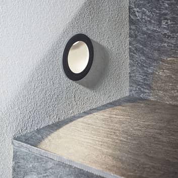 LED-vägginbyggnadslampa Pordis, IP65, rund