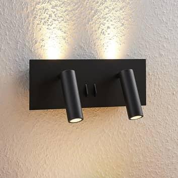 Lucande Magya LED-vägglampa svart 4 lampor