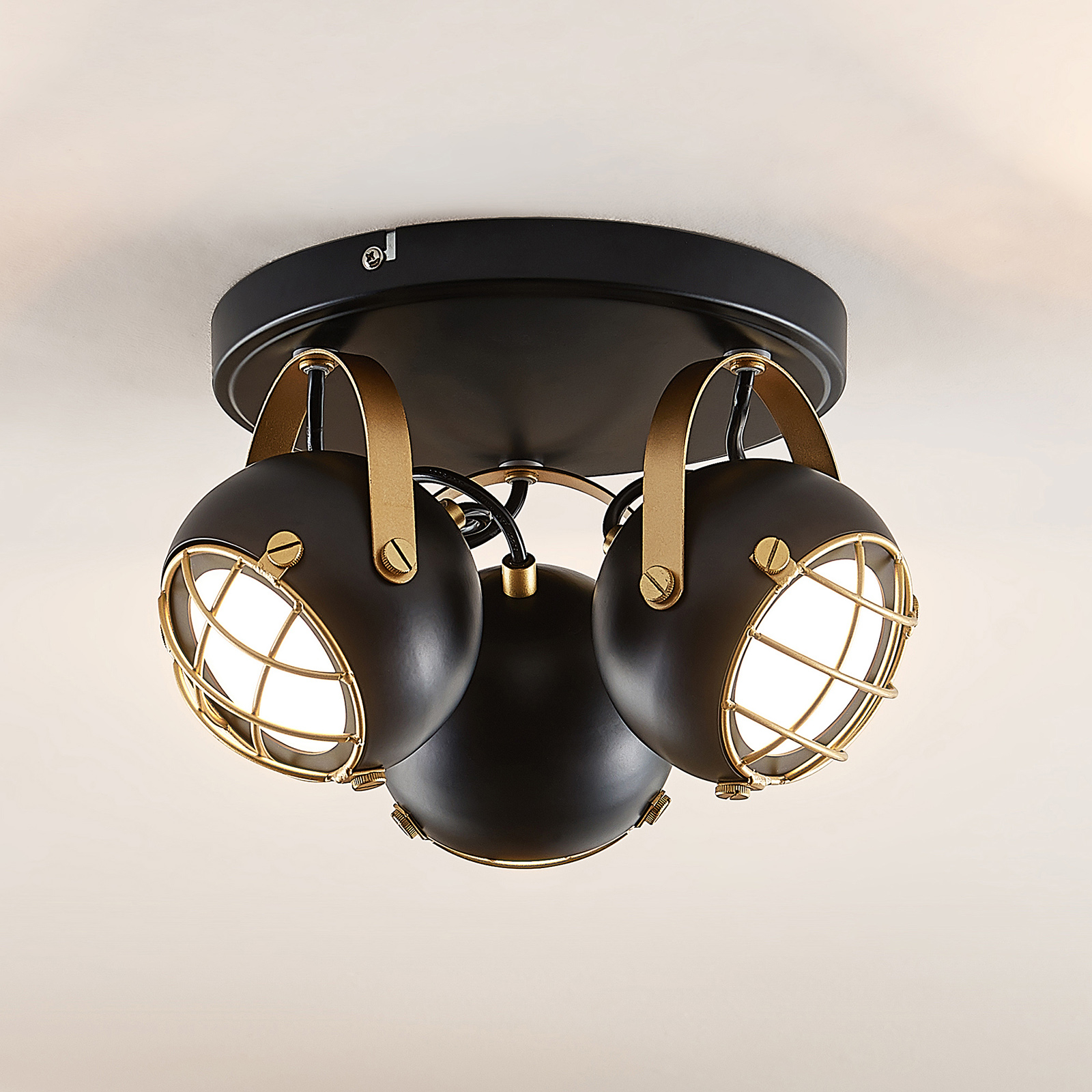 Lindby Dawid spot LED soffitto in oro, 3 luci