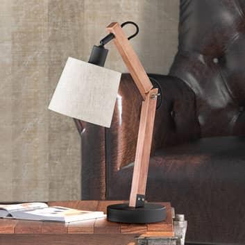 Hnědá dřev. stolní lampa Janko s text. stínidlem