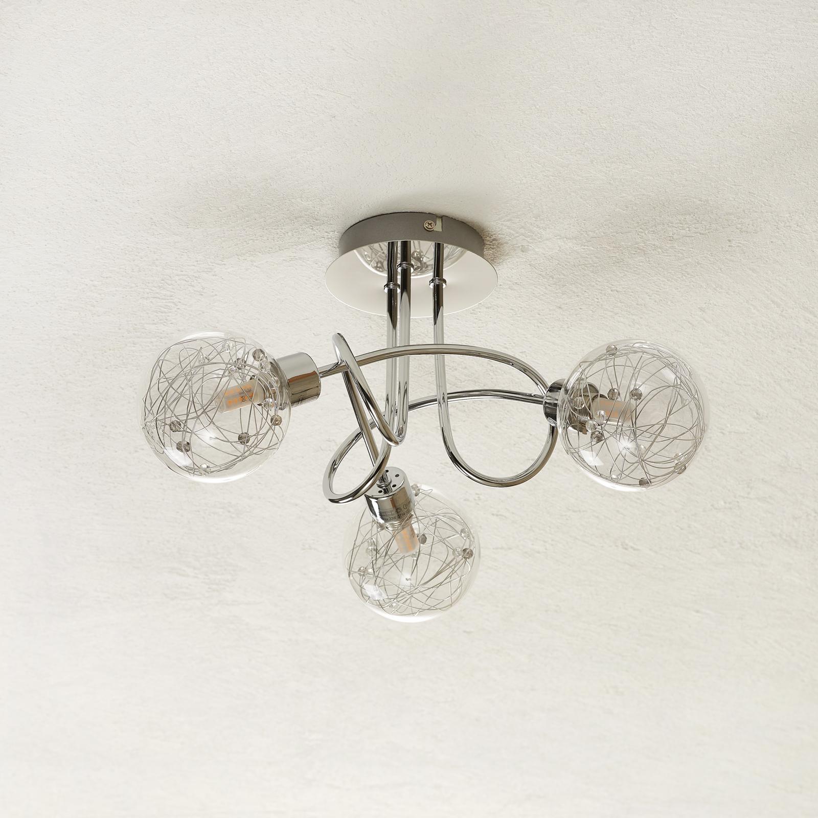 Joya - drielamps plafondlamp met glazen kappen