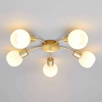 LED-taklampa Elaina i mässing, 5 ljuskällor