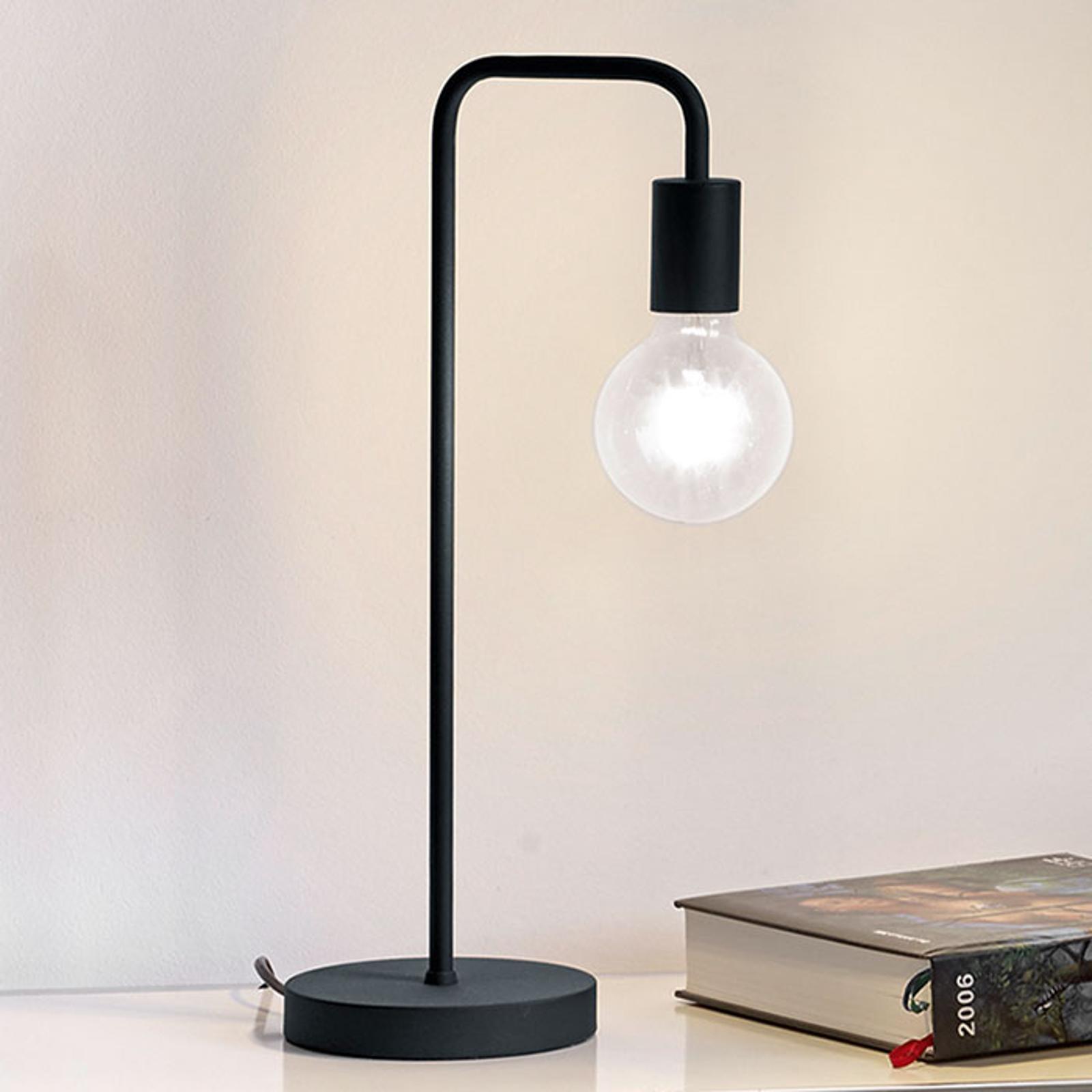 Tafellamp Diallo zonder kap in mat zwart