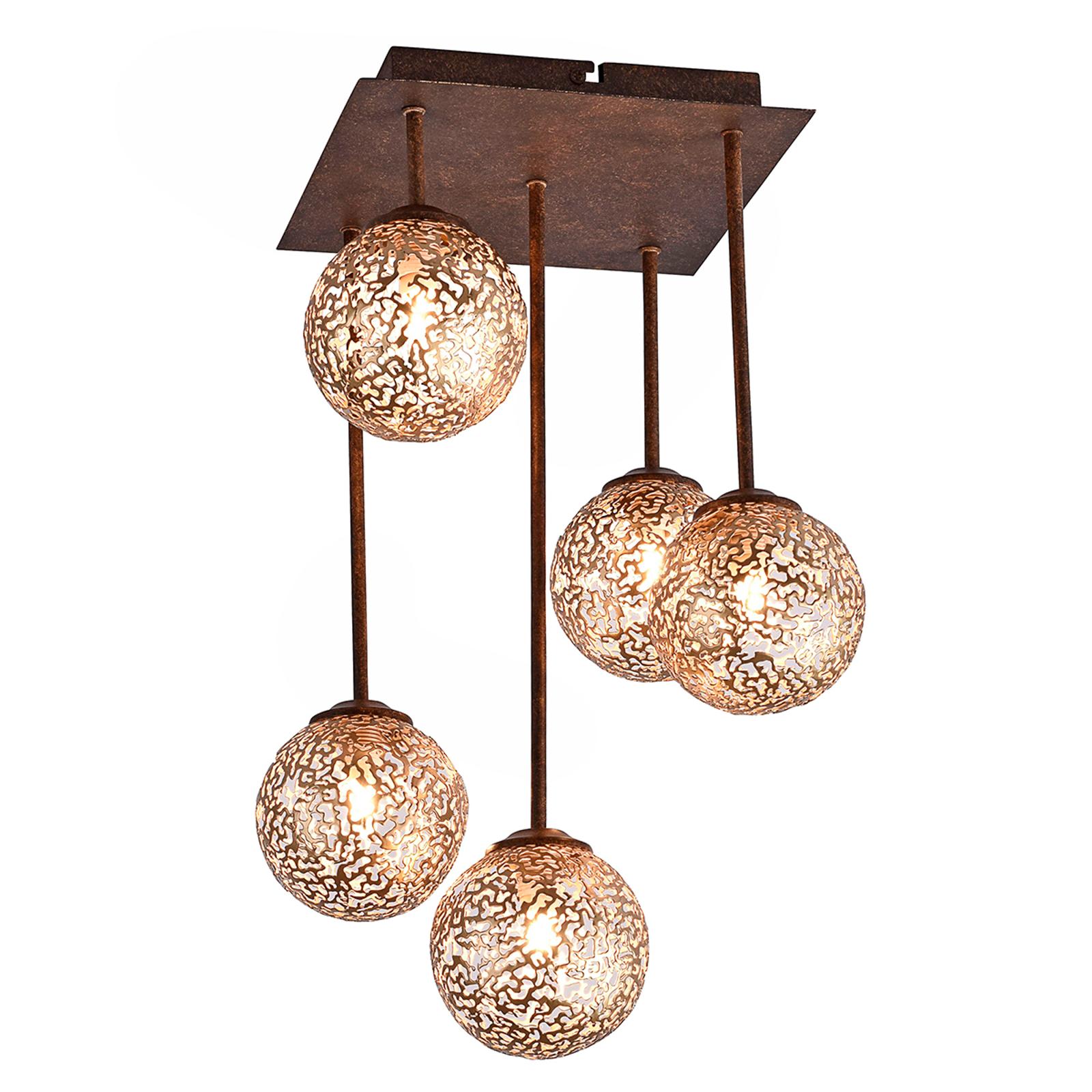 Plafonnier Greta tout en harmonie, 5 lampes