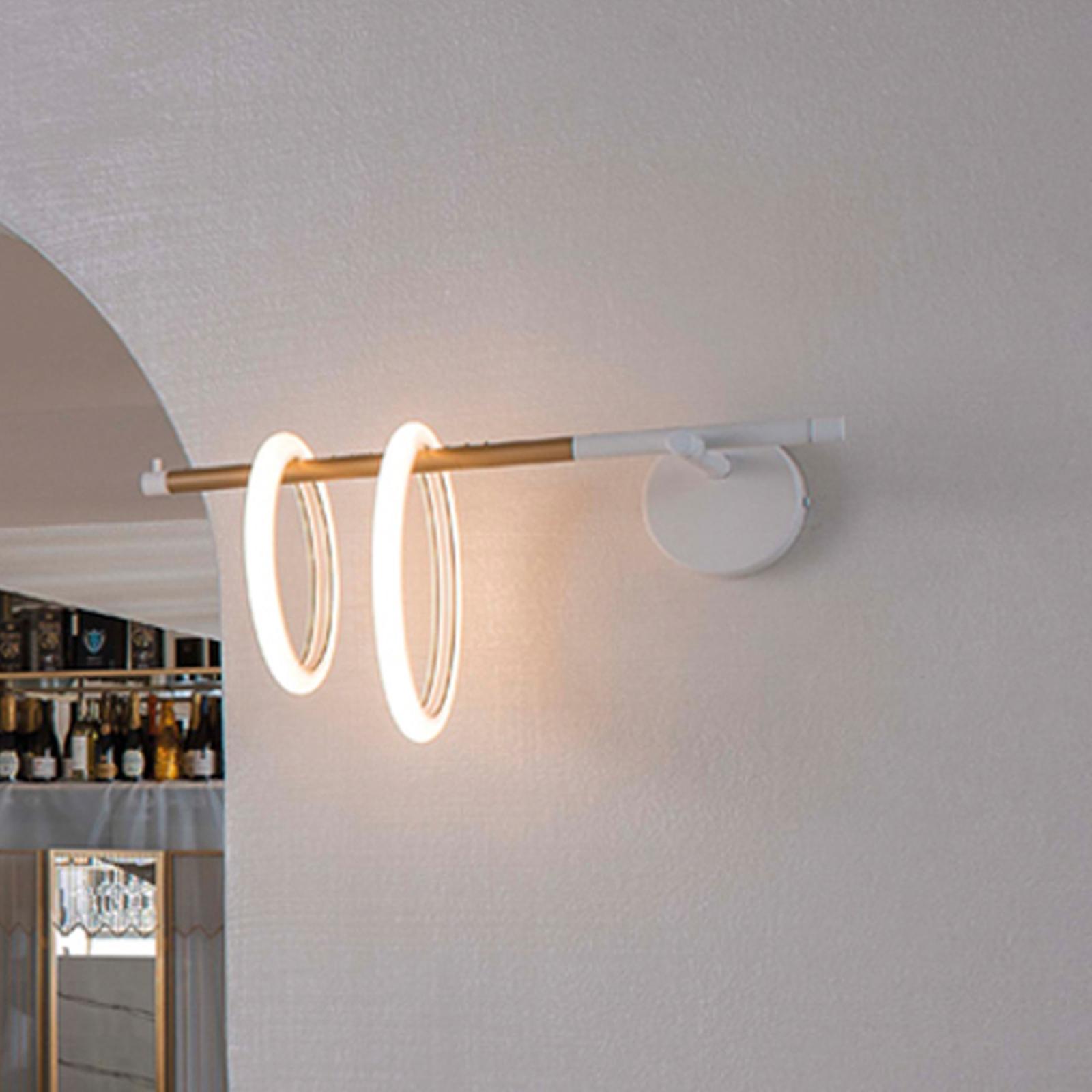 Kinkiet LED Ulaop, dwa pierścienie, lewy, biały