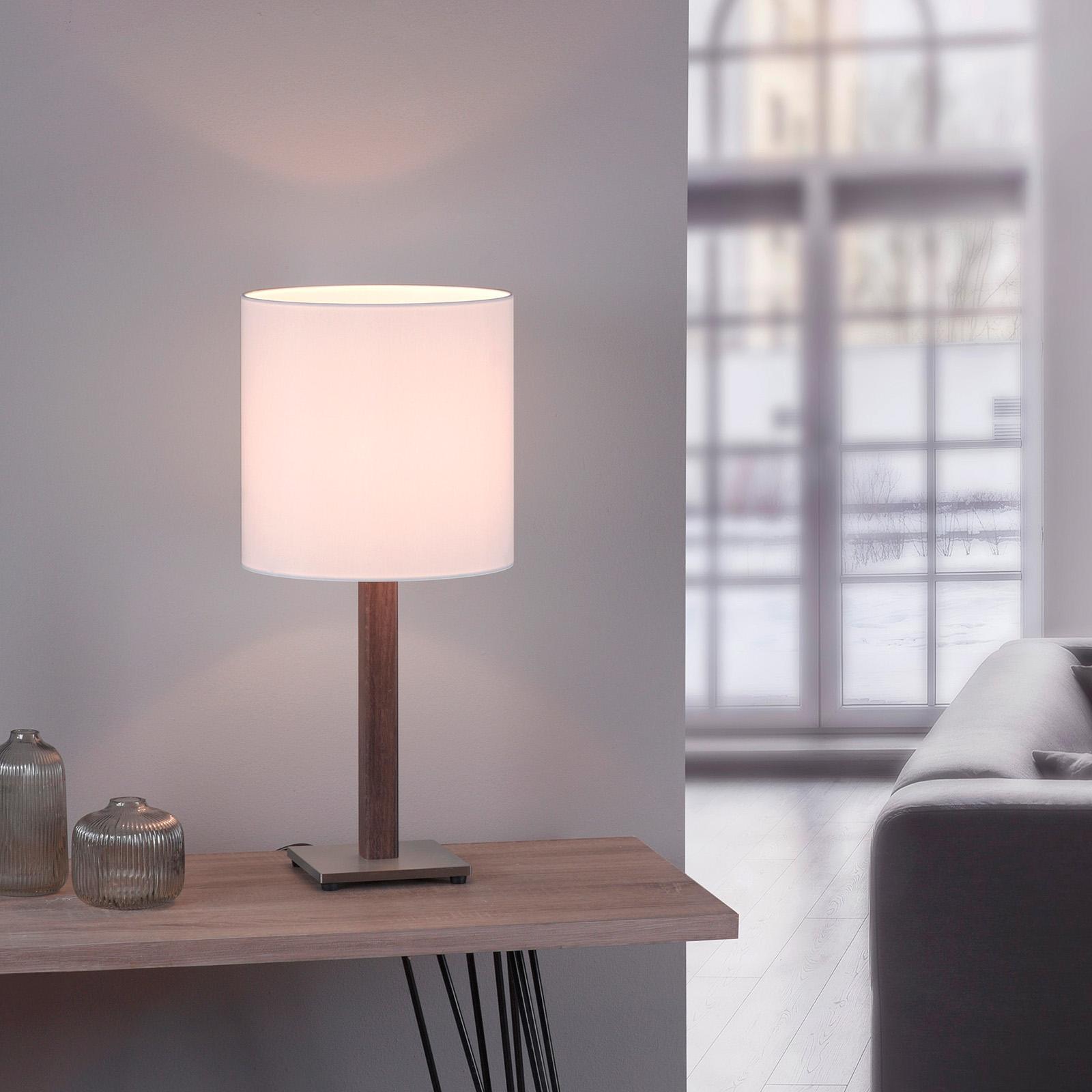 Lucande Elif tafellamp wit, hoekig eiken donker