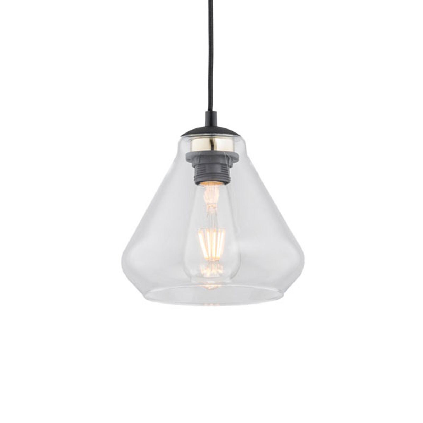 Destin hængelampe, 1 lyskilde, klar/sort