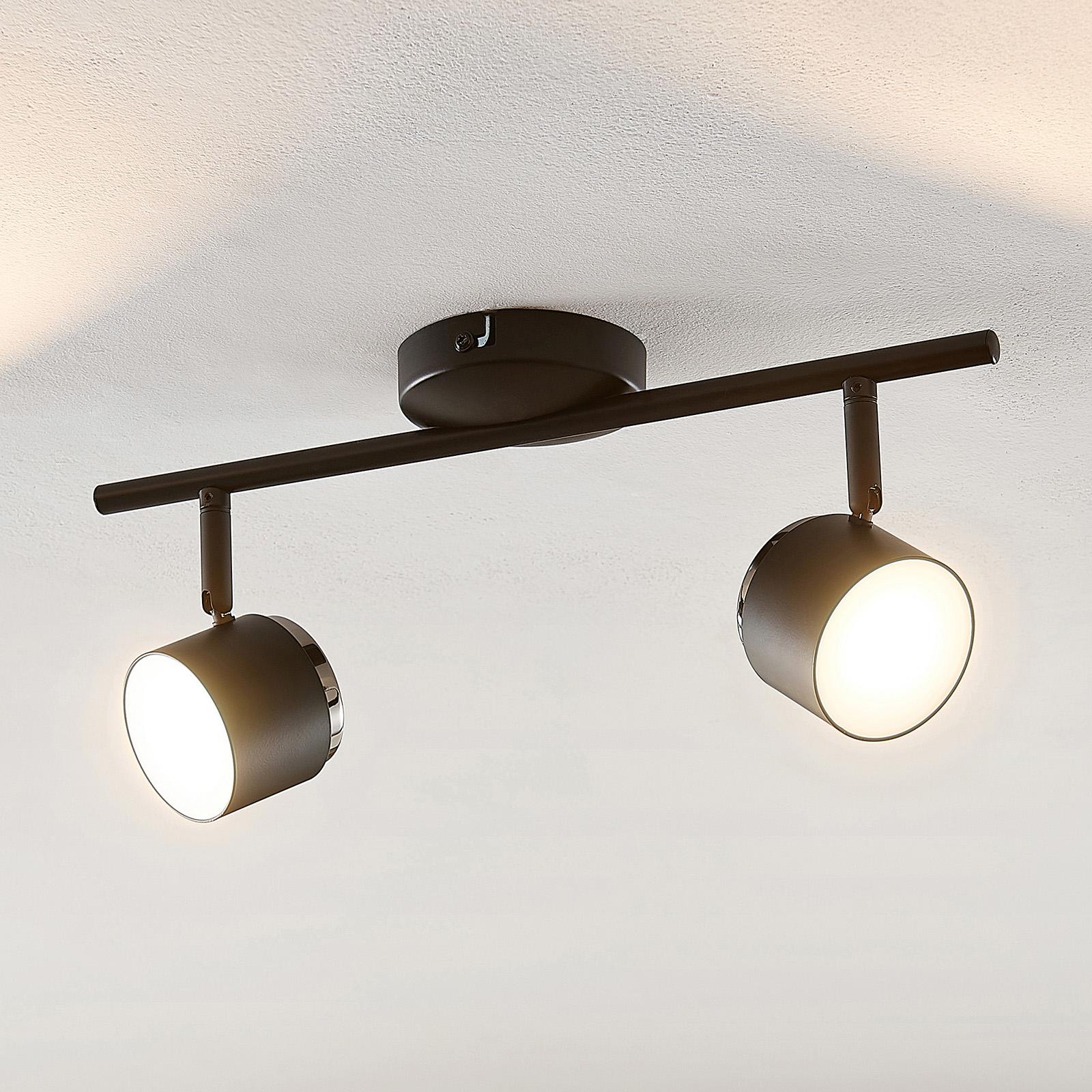 Lindby Marrie LED-Strahler, schwarz, 2-fl., Stange