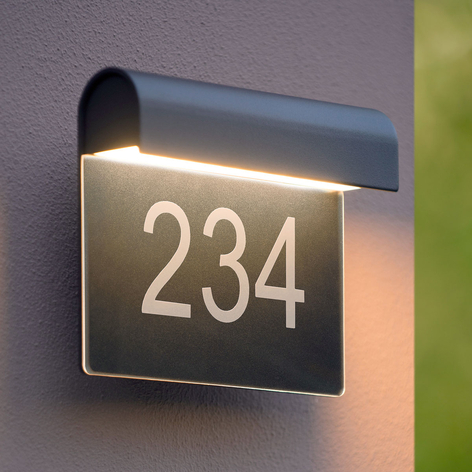 LED-husnummerlampa Thesi, svart