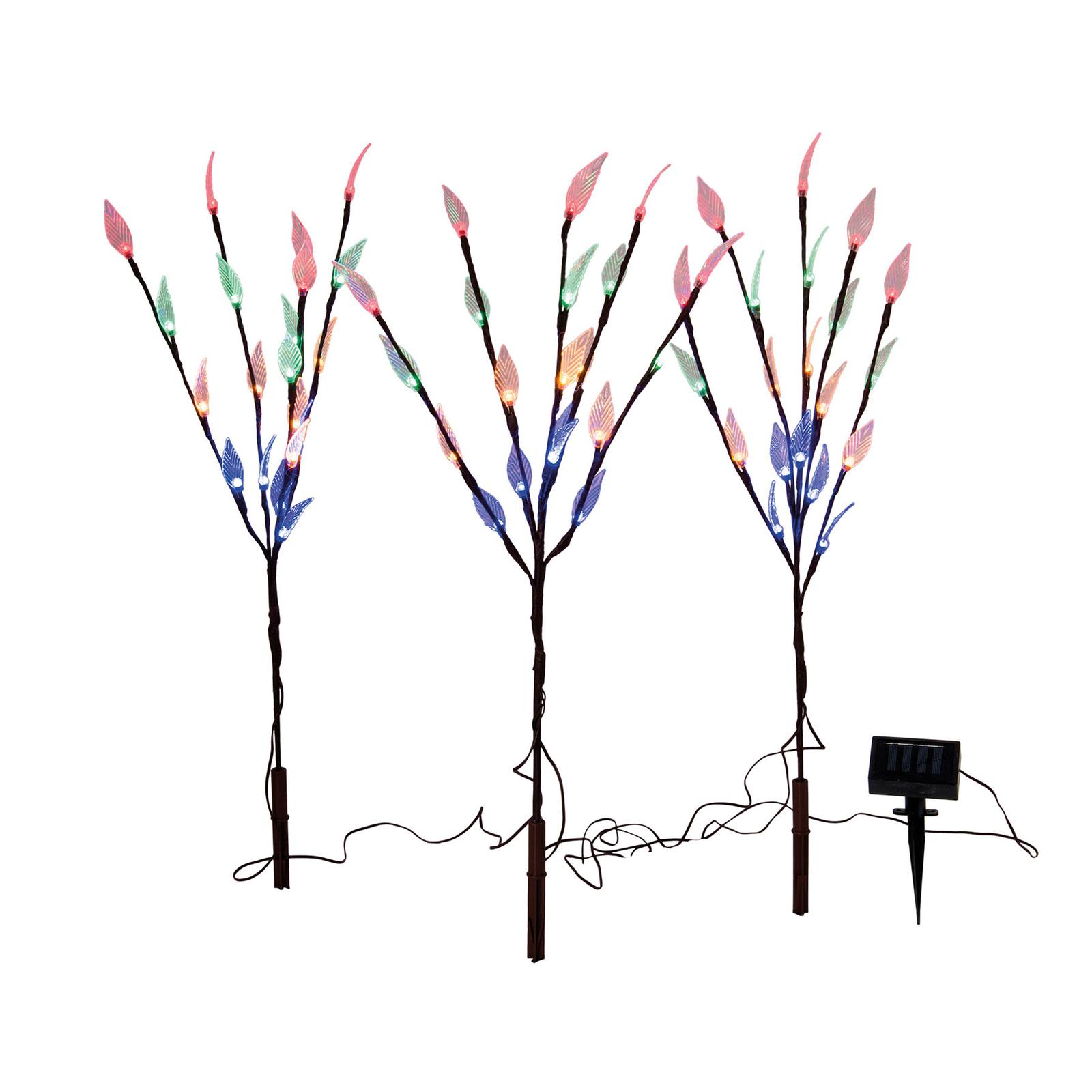 LED-dekosolcellelampe Baum med jordspyd, 3 deler