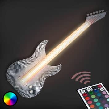 Rockige LED-Wandleuchte Gitarre aus dem 3D-Drucker