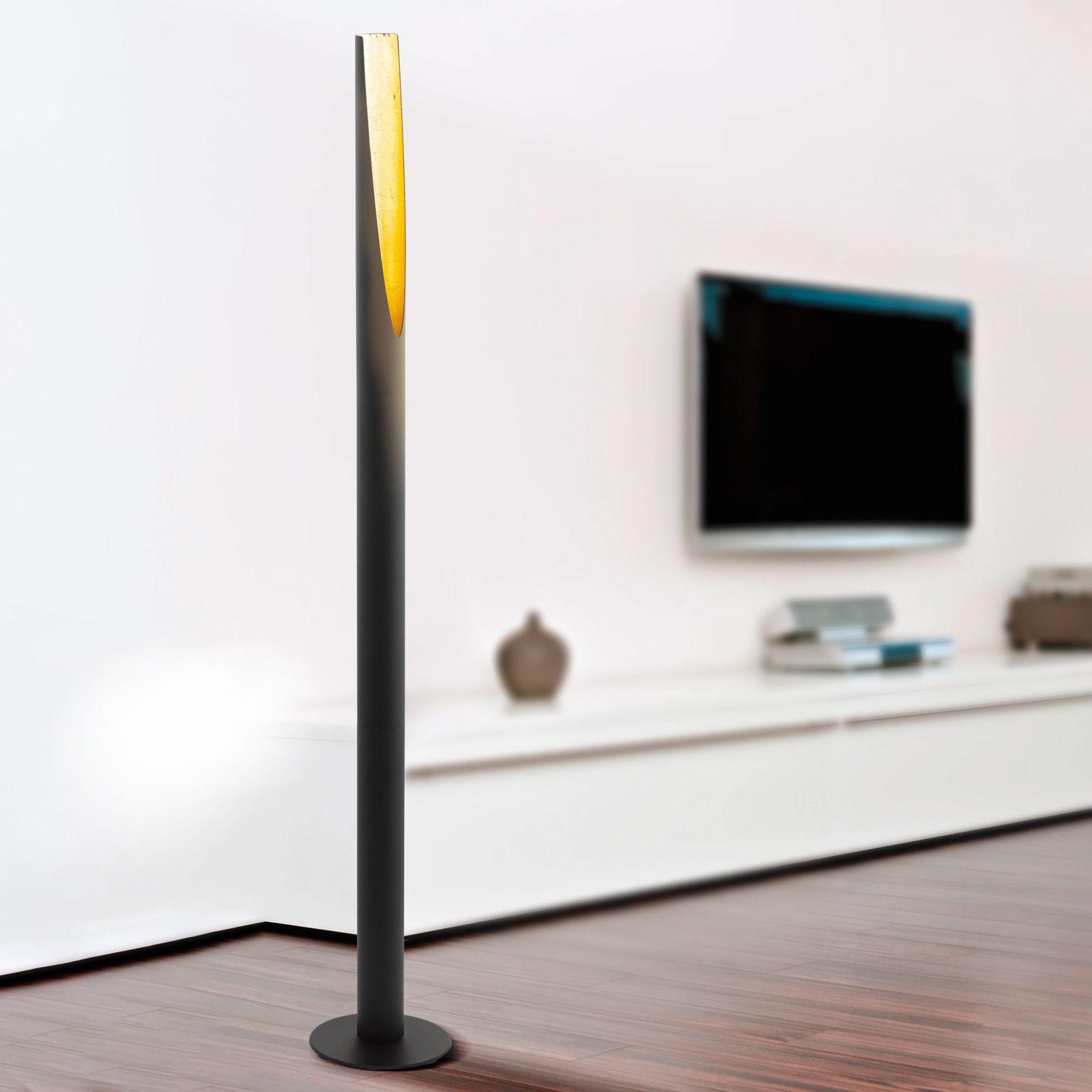Lampadaire LED Barbotto en noir/or