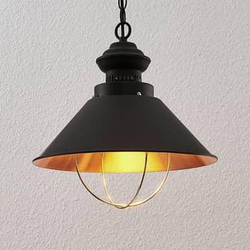 Lámpara colgante Aloisia con jaula, negro-cobre