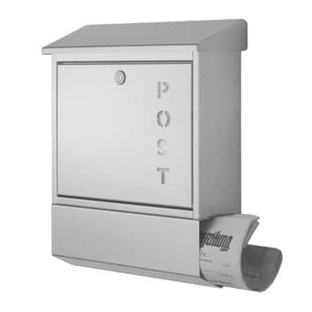 York postkasse i rustfrit stål - med avisrum
