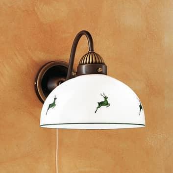 Rustik væglampe NONNA, grøn, med hjorte