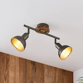 Lindby Nesrin stropní světlo, dřevo, 2 zdroje