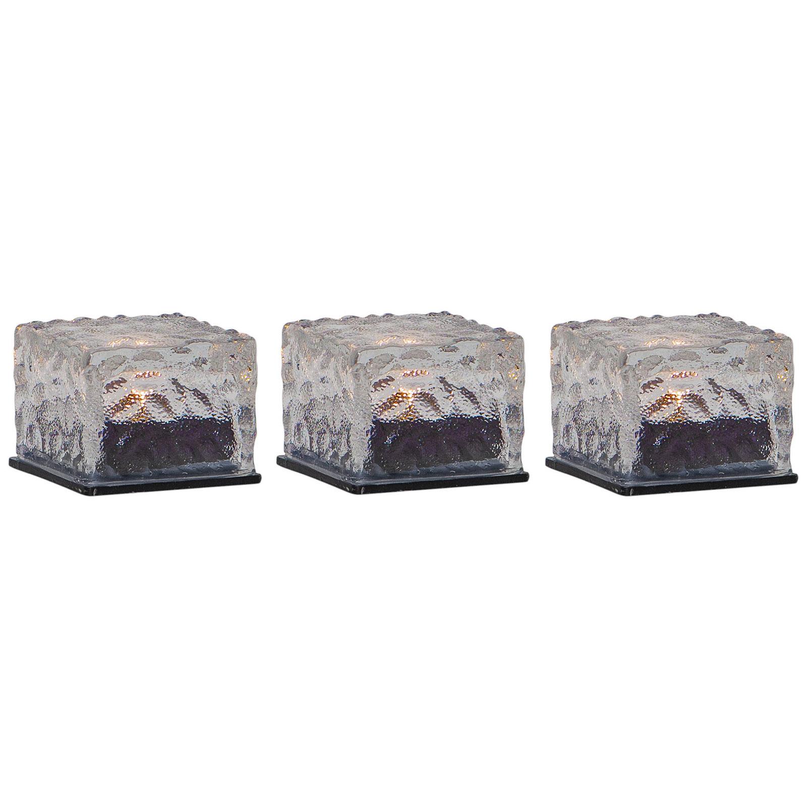 LED-solarkaars Icecube, 3 per set, ijsblokjesvorm