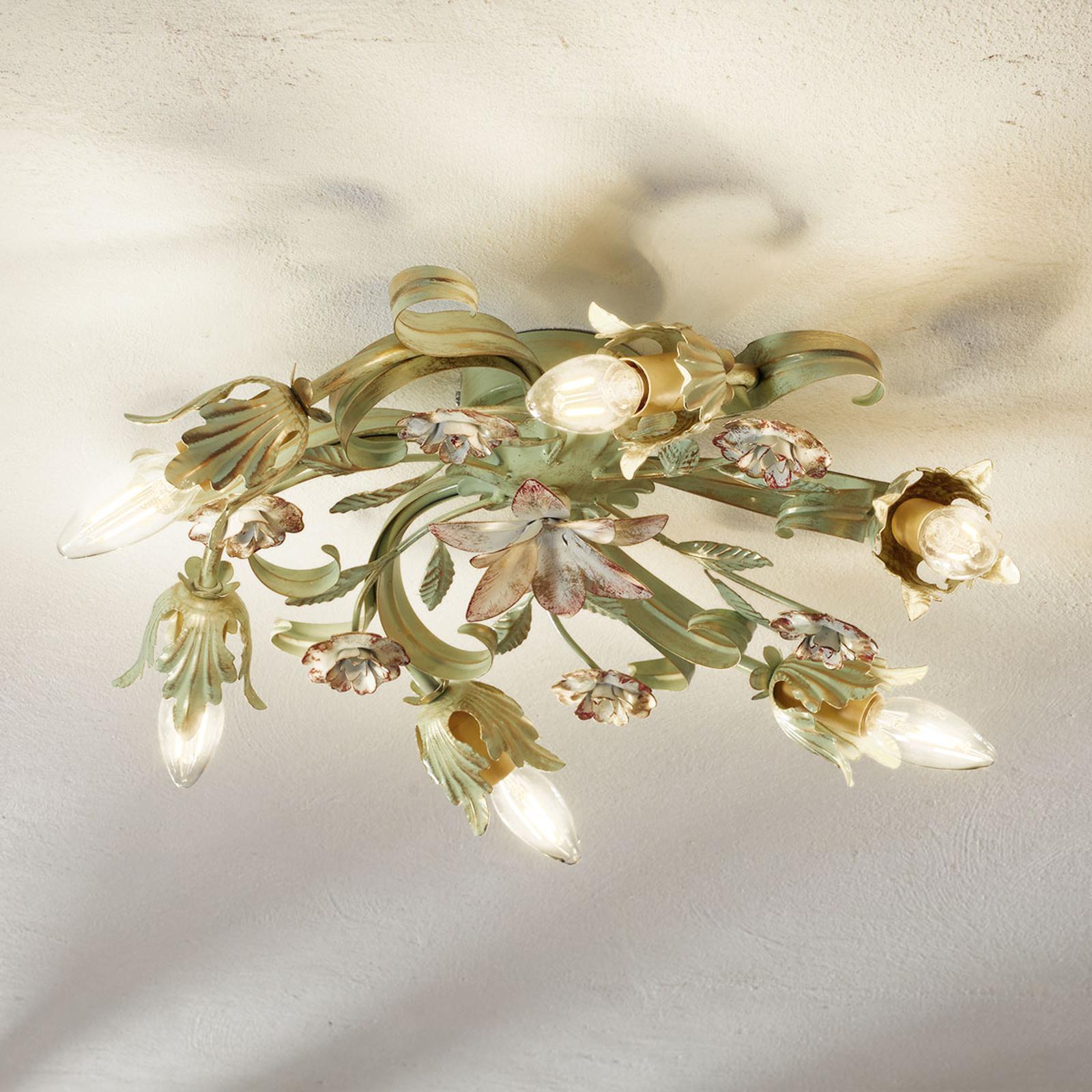 Bloemige plafondlamp Tulipe 6-lichts