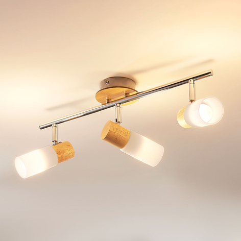 LED-Holzstrahler Christoph, 3-flammig, länglich
