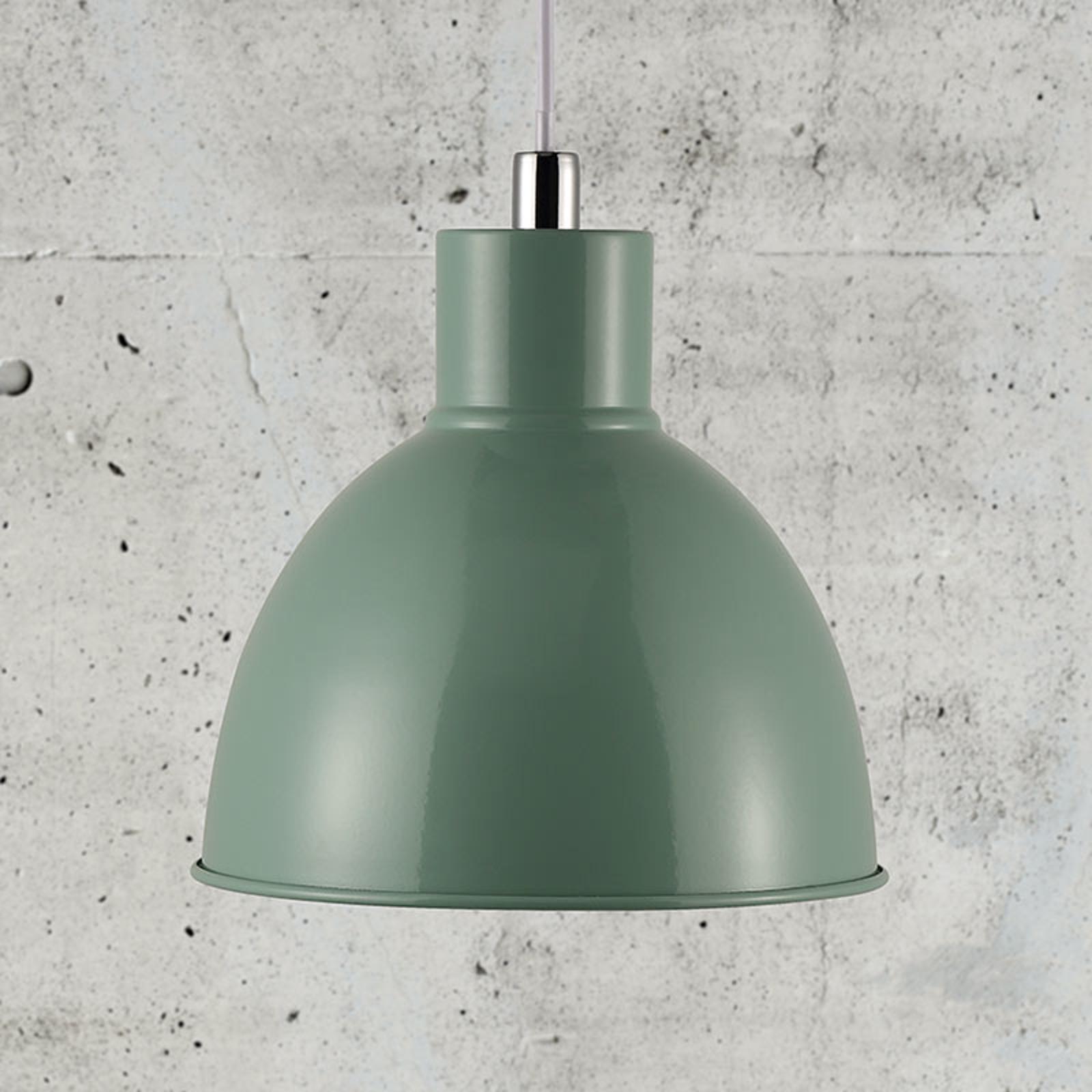 Lampa wisząca Pop z metalowym kloszem, zielona