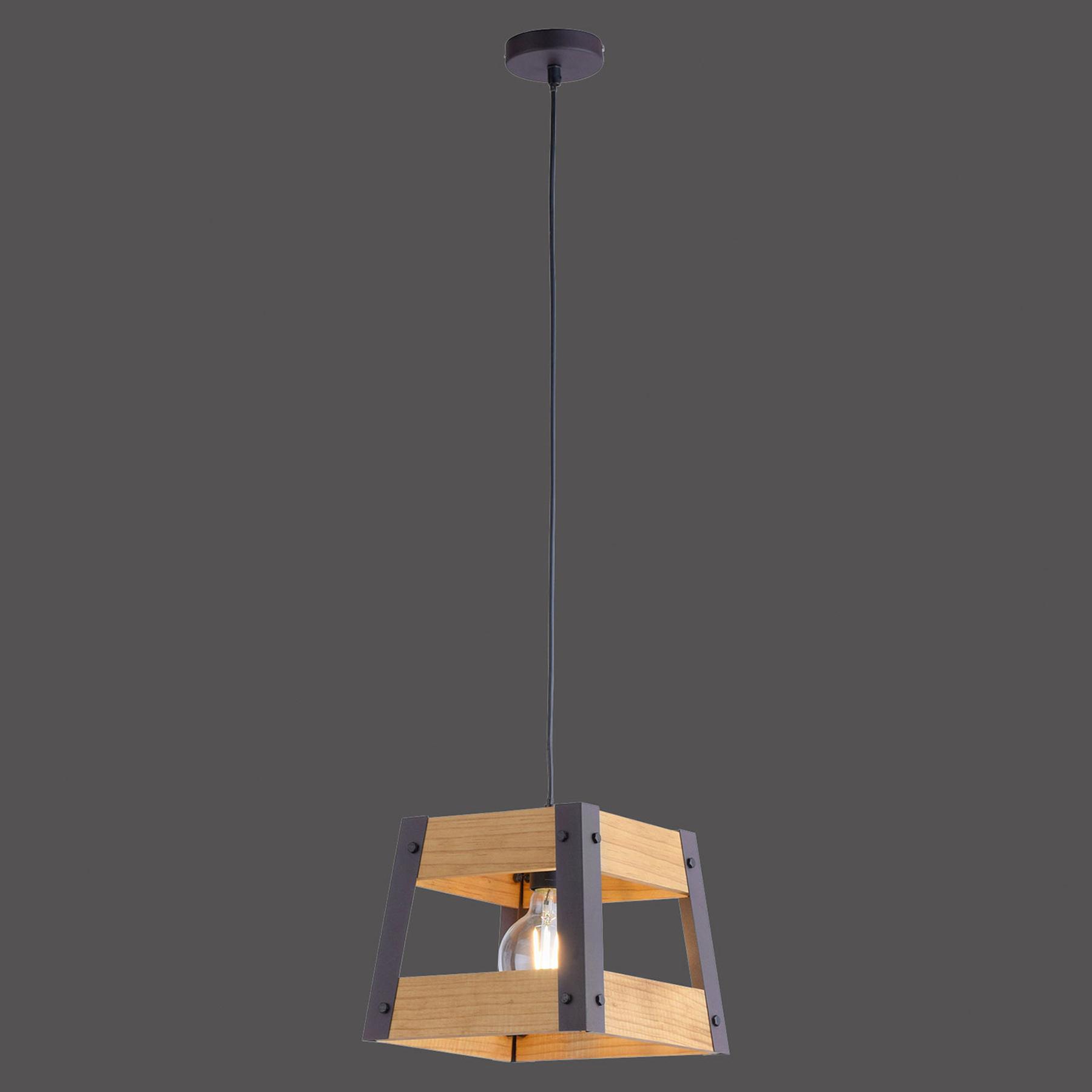 Suspension Crate en bois, à 1 lampe