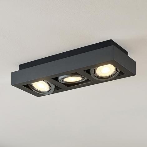 LED plafondspot Ronka, GU10, 3 lampje, donkergr