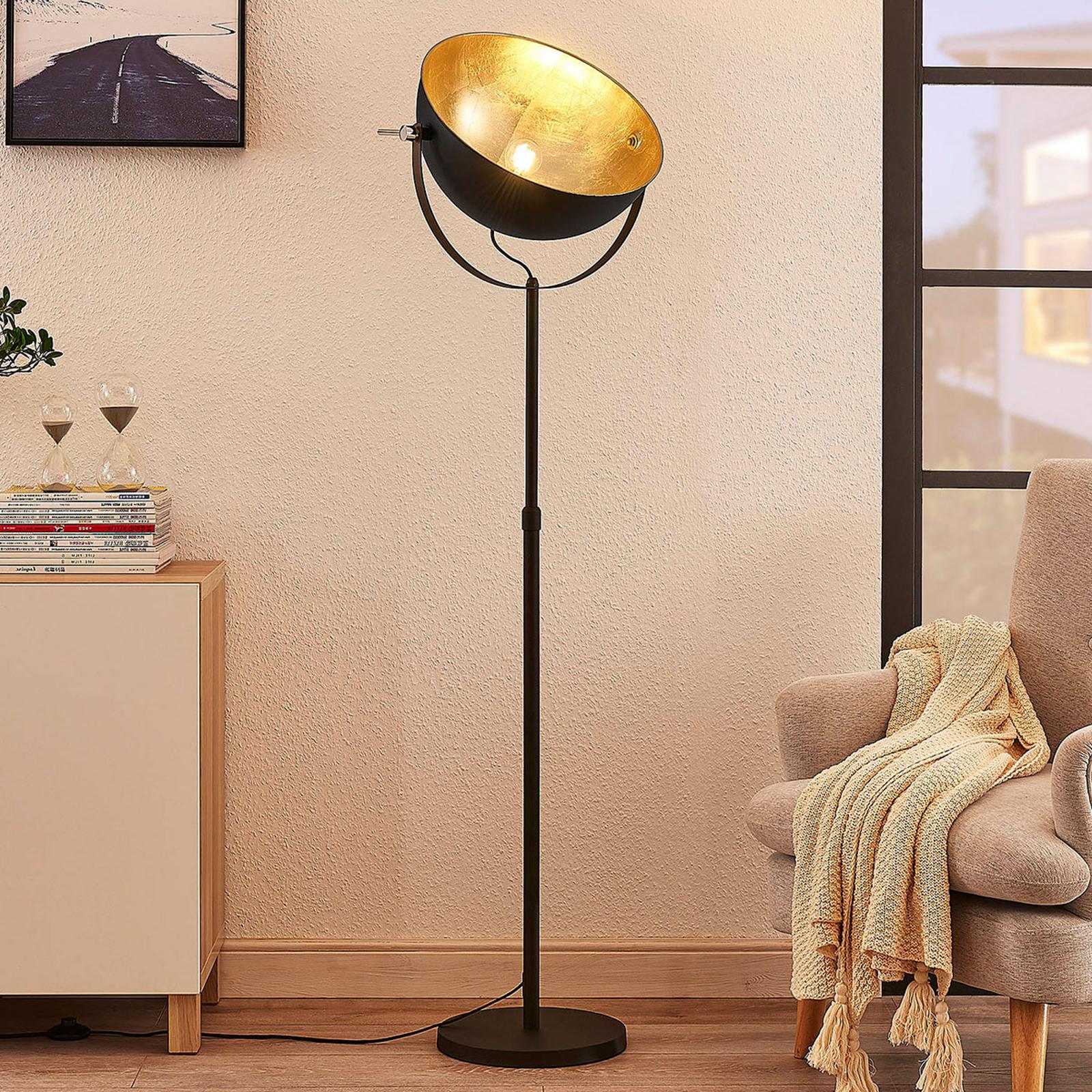 Stojací lampa Muriel, 1zdrojová, černá/zlatá