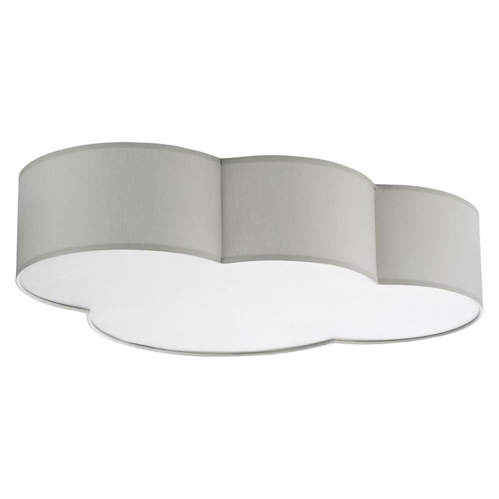 Taklampe Cloud av tekstil, lengde 62 cm, grå